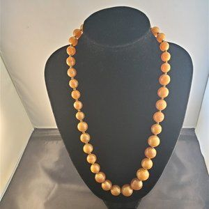 "Jewelry - 25"" Opalescent Caramel Bead Necklace"